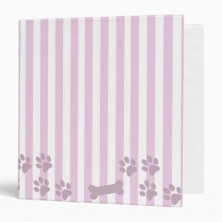 Carpeta rosada y blanca de la impresión del perro