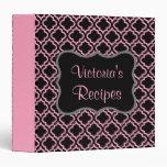 Carpeta rosada y negra de la receta