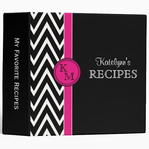 Carpeta rosada y negra de la receta del monograma