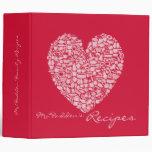 Carpeta rosada y roja de la receta del corazón del