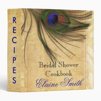 Carpeta rústica de la receta de la pluma del pavo