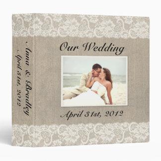 Carpeta rústica del álbum del boda de la mirada de