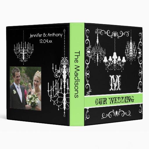 Carpeta verde, blanco y negro del boda de la lámpa