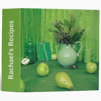 Carpeta verde bonita de la receta de la cocina
