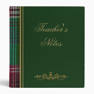 Carpeta verde de la tela escocesa del profesor