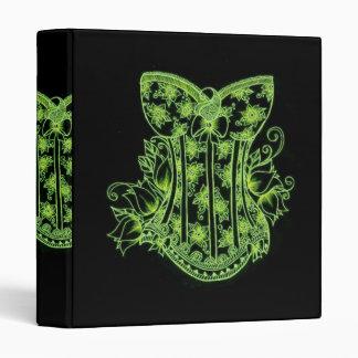 carpeta verde del corsé de la alheña del vintage