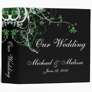 Carpeta verde, negra y blanca floral abstracta del