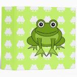 Carpeta verde y blanca de la rana linda