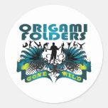 Carpetas de Origami idas salvajes Etiquetas Redondas