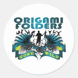 Carpetas de Origami idas salvajes Pegatina Redonda