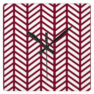 Carpetas marrón de Chevron Reloj Cuadrado