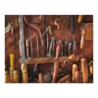 """Carpintero - herramientas viejas invitación 4.25"""" x 5.5"""""""