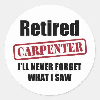 Carpintero jubilado pegatina redonda