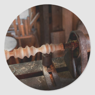 Carpintero - torno - versión preliminar pegatina redonda