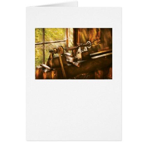 Carpintero - un torno viejo tarjeta de felicitación