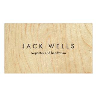 Carpintero y manitas de madera ligeros simples del tarjetas de visita