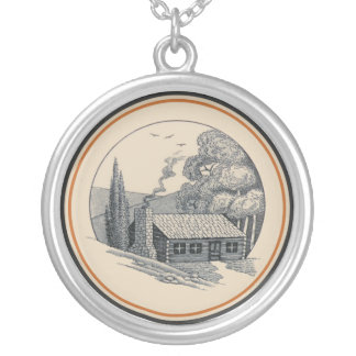 Carr China's WV State Parks Design: Log Cabin Round Pendant Necklace