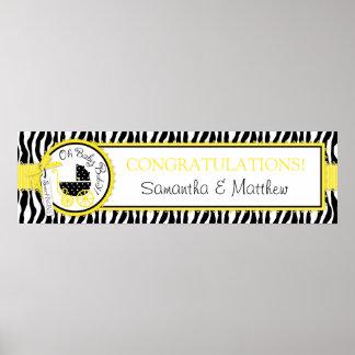Carraige, Zebra Print & Yellow Baby Shower Banner