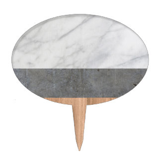 Carrara Marble, Concrete, and Teak Wood Abstract Cake Topper