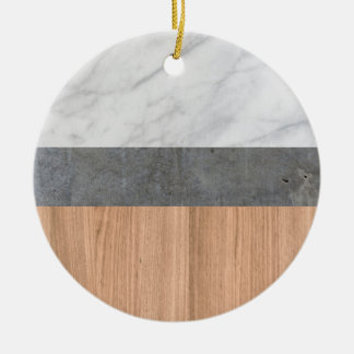 Carrara Marble, Concrete, and Teak Wood Abstract Ceramic Ornament