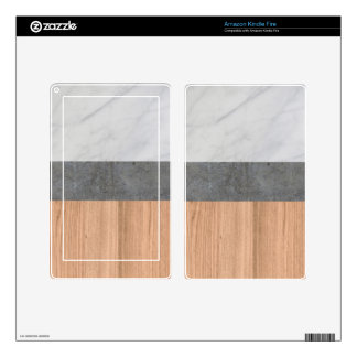 Carrara Marble, Concrete, and Teak Wood Abstract Decals For Kindle Fire