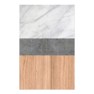 Carrara Marble, Concrete, and Teak Wood Abstract Stationery