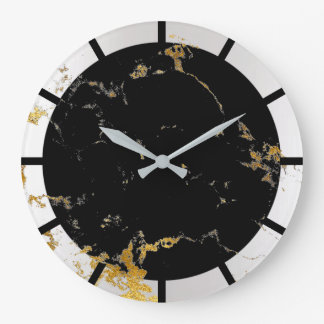 Carrara Marble White Lux Gold Black Stone Gray Large Clock