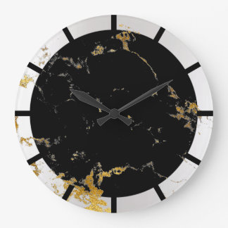Carrara Marble White Lux Gold Black Stone Gray VIP Large Clock