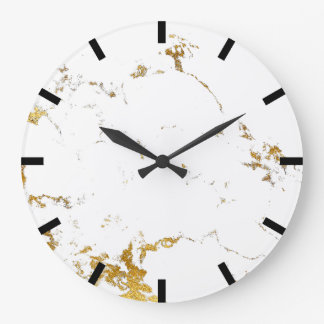 Carrara Marble White Lux Gold Black Stone Large Clock