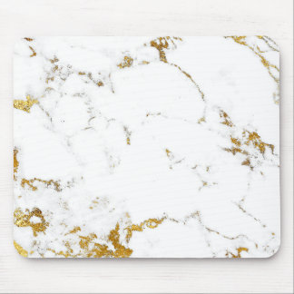 Carrara Minimal Lux Gold White Gray Marble Mouse Pad