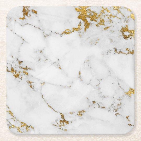 225ccde0b18b7 Carrara White Gold Marble Gray Square Coasters