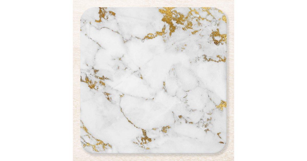 Carrara White Gold Marble Gray Square Coasters Zazzle Com