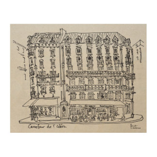 Carrefour de l'Odeon, Saint-Germain-des-Pres Wood Wall Art