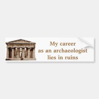 Carrera como en arqueólogo pegatina para auto