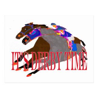 carrera de caballos 2016 del tiempo de derby tarjeta postal