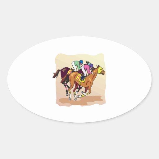 Carrera de caballos 6 colcomanias de óval