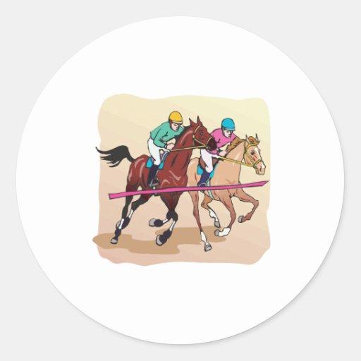 Carrera de caballos 7 pegatinas redondas