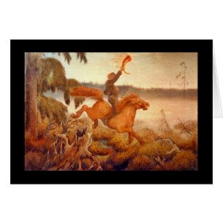 Carrera de caballos a través de la hierba 1902 tarjeta