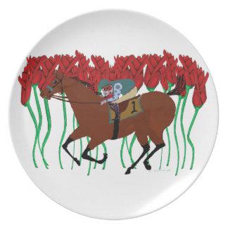 Carrera de caballos adaptable con diseño de los platos para fiestas