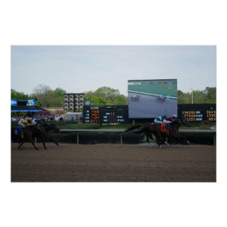 Carrera de caballos alto Def Póster