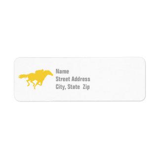 Carrera de caballos ambarina amarilla etiqueta de remite