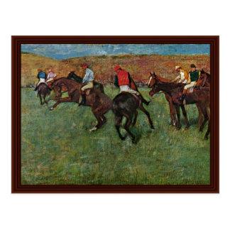 Carrera de caballos antes del comienzo de Edgar De Tarjeta Postal