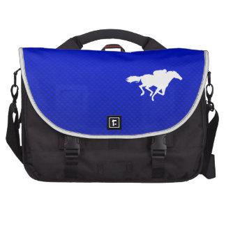 Carrera de caballos azul bolsas para portátil