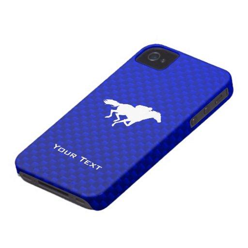 Carrera de caballos azul Case-Mate iPhone 4 fundas