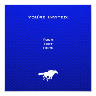 Carrera de caballos azul invitación 13,3 cm x 13,3cm