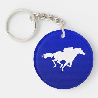 Carrera de caballos azul llavero redondo acrílico a doble cara