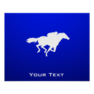 Carrera de caballos azul póster
