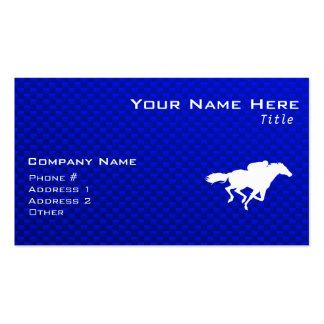 Carrera de caballos azul tarjetas de visita