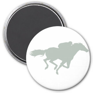 Carrera de caballos del gris de ceniza imán redondo 7 cm