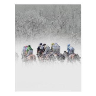 Carrera de caballos del invierno postales
